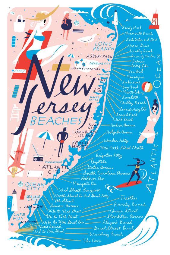 New Jersey Beach Map - libby vanderploeg