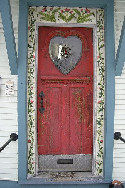 Charming Red Door to a pottery shop in Rochester, Vermont, USA ~photo by Treewhimsy, via Flickr