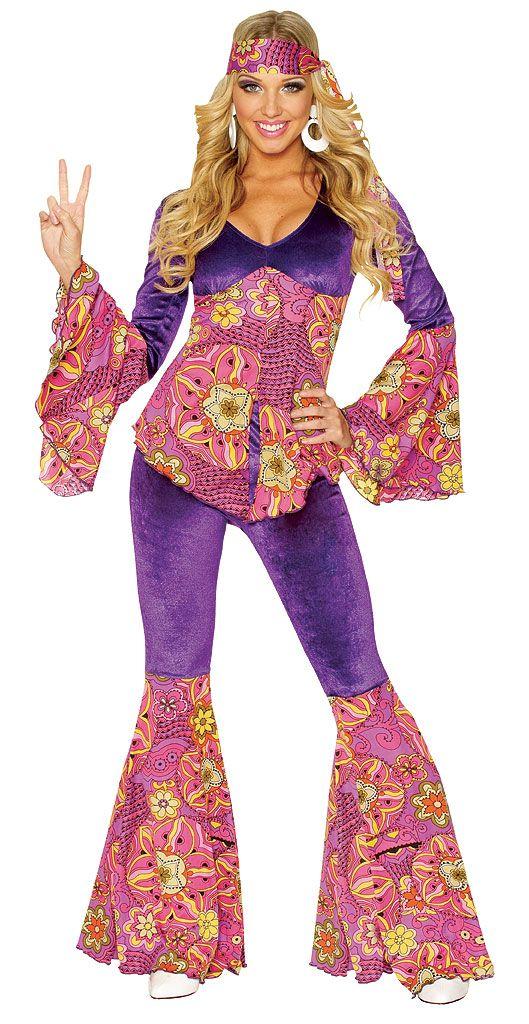 OP 712 Ladies Costume Fancy Dress 60/'s 70s Disco Retro Hippie Sz 6,8,10,12
