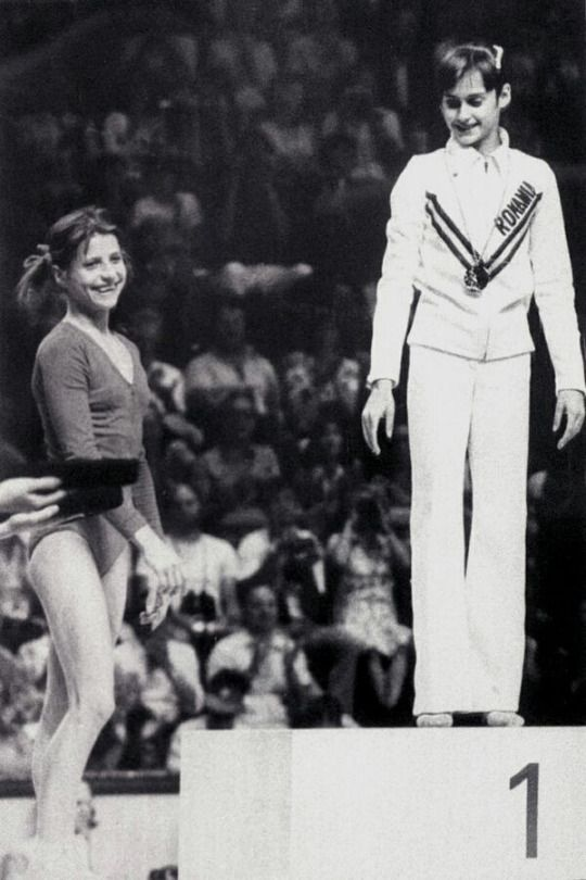nadia comaneci and olga korbut1976 montreal olympic games photo credit agerpres archive