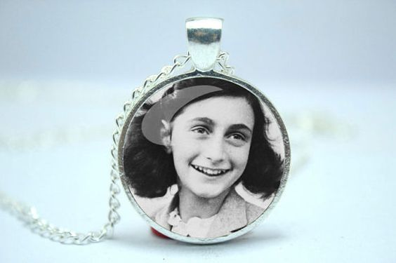 Anne Frank Necklace, Inspirational Jewish Pendant, WWII Glass Cabochon Necklace
