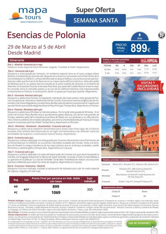 Esencias de Polonia Semana Santa desde Madrid**Precio final desde 899** ultimo minuto - http://zocotours.com/esencias-de-polonia-semana-santa-desde-madridprecio-final-desde-899-ultimo-minuto/