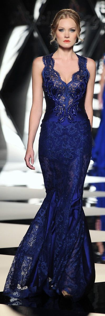 Mireille Dagher Fall-Winter 2013-14 Haute Couture Collection - Beautiful damask and lace navy evening gown