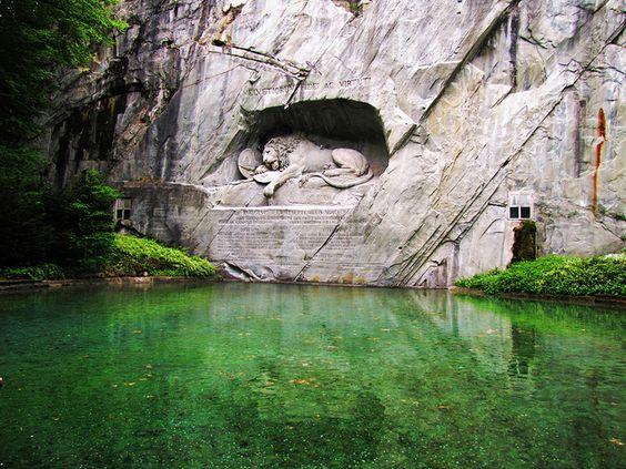 The Lion Monument At Lucerne, Switzerland.