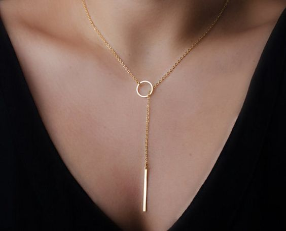 Any length, Lariat Necklace 14K Gold or sterling Silver drop bar long Y layered and long necklace strand delicate chain lariat necklace by MiritLevinJewelry on Etsy