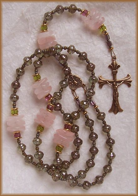 "Rosary - Czech Glass, Rose Quartz, and Bronze - ""Reasons of the Heart"" - v.III - Handmade by Still Stone and Moss, Prayer Bead Art"