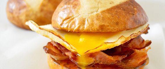 Pretzel Bun Breakfast Sandwich | BaconCalendar.com
