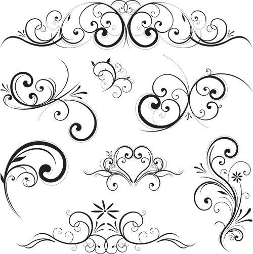 calligraphy swirls and designs | Swirls decor design vector set 01 - Vector Frames & Borders free ...