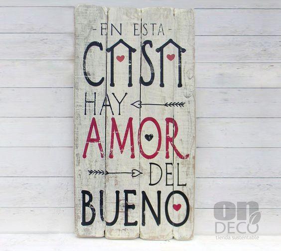 Letrero vintage | EN ESTA CASA HAY AMOR DEL BUENO: