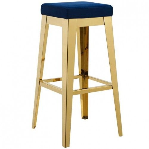 Blue Velvet Gold Stainless Steel Backless Bar Stool Backless Bar Stools Bar Stools Contemporary Bar Stools