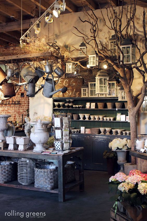 tree as store prop; love the rustic elements - a chalkboard would look good in the space