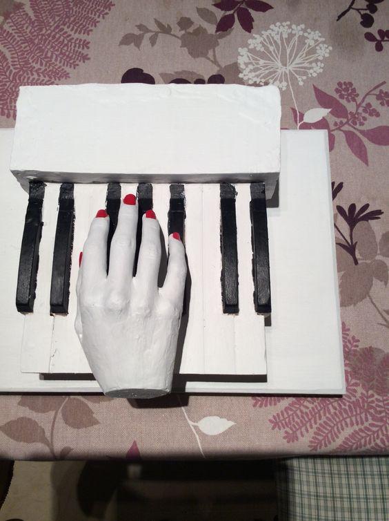 Mano tocando el piano. Autora Elena Martínez Alfaro