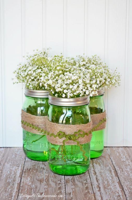 Easy spring centerpiece with #heritagecollection jars in spring green: Blue Mason Jars, Ball Jars, Jar Crafts, Centerpiece Jars, Blue Jars, Mason Jar Centerpieces, Beautiful Green, Spring Centerpieces, Green Mason Jars