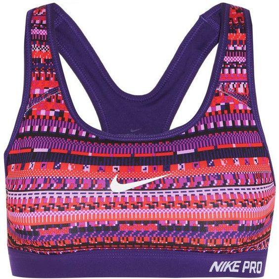 Nike Pro Classic printed stretch-jersey sports bra (£40) ❤ liked on Polyvore featuring activewear, sports bras, purple, nike sportswear, racerback sports bra, colorful sports bras, nike activewear and racer back sports bra