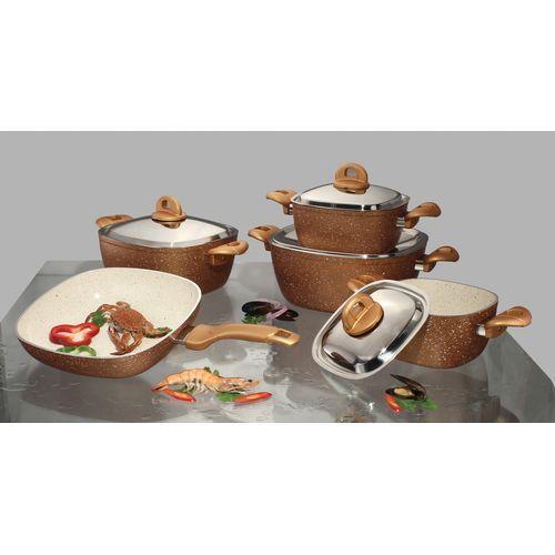 طقم حلل جرانيت 8211 4 5ملي مربع 8211 15 قطعه 8211 دهبي Sugar Bowl Set Bowl Set Sugar Bowl