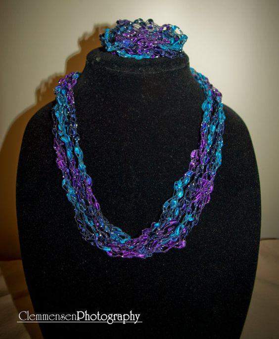 Adjustable Purple/Teal/Silver ladder trellis ribbon by mmar175, $7.50