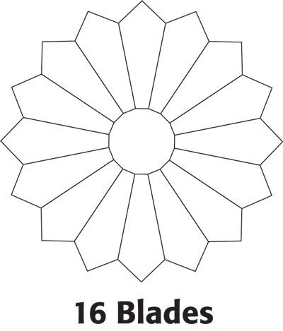 Dresden Plate with 16 blades.  There are print out patterns for 16, 20, and 36 blades.  Plate templates in Downloads.