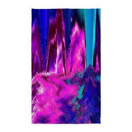Melted Glitch (Pink & Teal) Area Rug on CafePress.com