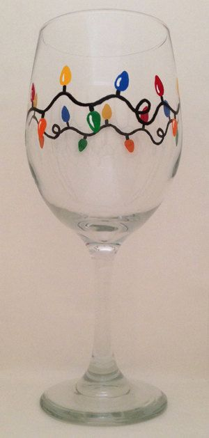 Christmas lights hand painted and wine glass on pinterest for Hand painted wine glass christmas designs