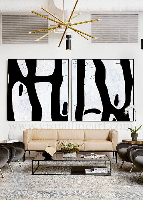 Two Piece Wall Art Black White Painting Canvas Art Trending Wall Decor Modern Art Print Set Of 2 Large Wall Art For Home Hotel Office Modern Art Prints Trendy Wall Art