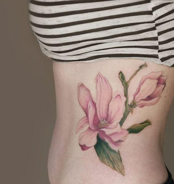 Magnolias tattoo on side - 50  Magnolia Flower Tattoos  <3 <3