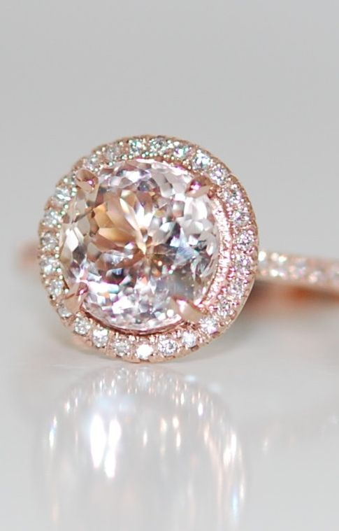 Peach Champagne Sapphire diamond ring 14k rose gold ring engagement ring, 3.48ct round sapphire.