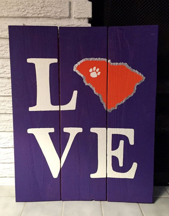 LOVE South Carolina Clemson Tigers Wooden Sign Show your LOVE for your favorite team! Signs for any state, sport or team can be made custom