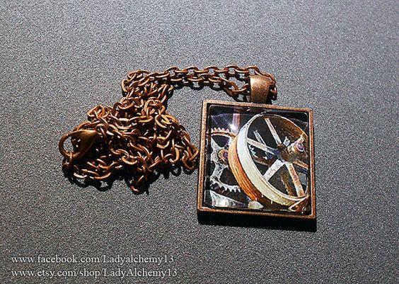 Pendant Necklace Gears Steampunk Urbex Abandon by LadyAlchemy13