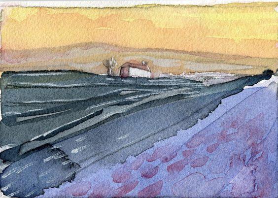 Cosy Cottage at dusk Original Watercolour by ElizabethAFox on Etsy