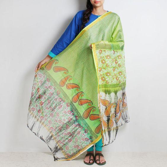 Green Hand Block Floral & Paisley Print Tie & Dye Kota Silk Handwoven Dupatta