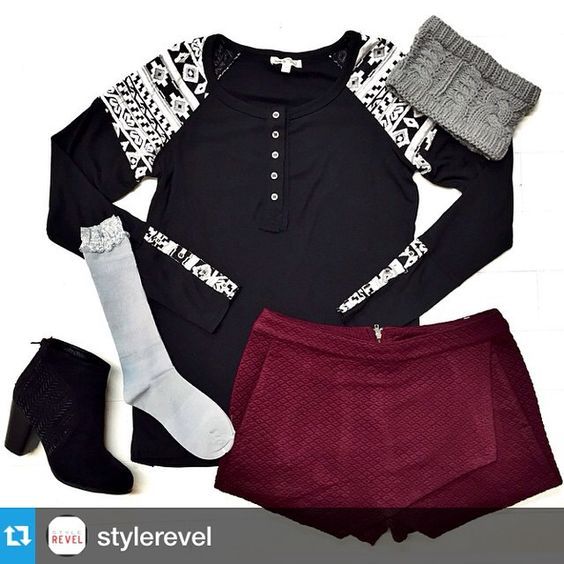 @stylerevel・・・We are loving this black shirt with the patterned detail on the sleeves paired with this maroon quilted skort!! Put it on with our favorite black booties & some cute boot socks!! Top - $39.50 // S, M, L Skort - $24 // M, L Booties - $37 // 5.5, 7, 7.5 Socks - $12 Headband - $12 (30%off - $8.40) Shop social!! Sign up today at stylerevelsocial.com