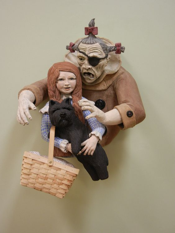 'Mind everything I tell you, for if you do not I will make an end of you.' (Dorothy and The Wicked Witch of the West) - Ceramic - Sara E. Morales
