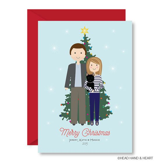 Printable Christmas Card, Christmas Tree Portrait, Custom Portrait, Family Illustration, Custom Holiday Card, Pet Holiday