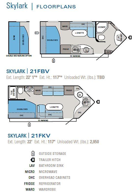 2011 Jayco Skylark Travel Trailer Floorplans Floor Plans Travel