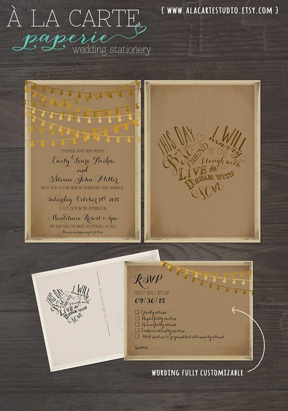 Rustic Wedding Invitation Card RSVP Set This