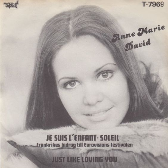 """Former Eurovision-winner returns in 1979. """"Je Suis L'enfant-soleil"""" did well. In my opinion it was well-deserved. Here in the sleeve from the Swedish release. France @ Eurovision 1979."""