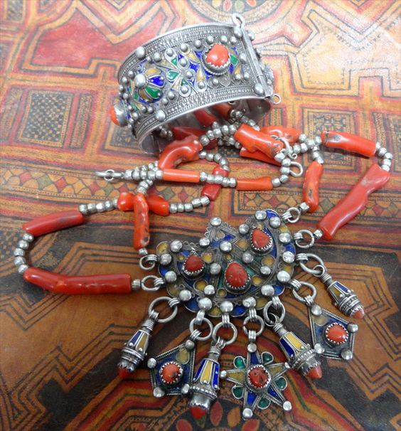 by Hillary Louarti | Necklace; A centerpiece from an old Kabyle necklace reworked with old silver and coral beads, also Kabyle