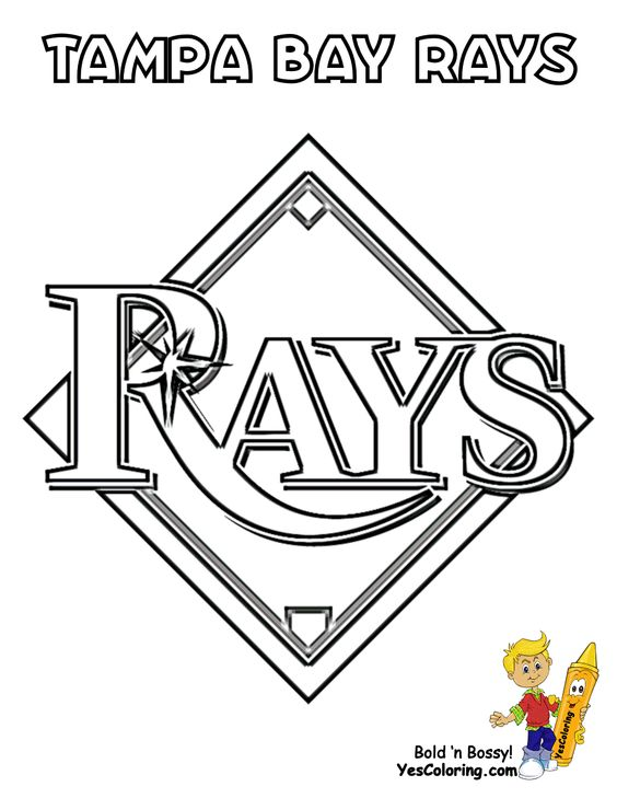 Big Boss Baseball Coloring Sheet American League Teams Baseball Free Baseball Coloring Pages Coloring Pages Rays Baseball