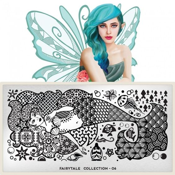 MoYou London Stamping Schablone *Fairytale Collection 6* 06 Meerjungfrau Fisch
