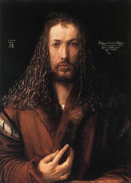 """Albrecht Dürer (1471-1528) - Selbstbildnis - """"Ich mag nicht in den Himmel, wenn es dort keine Weiber gibt. - Was soll ich mit bloßen Flügelköpfchen?"""":"""