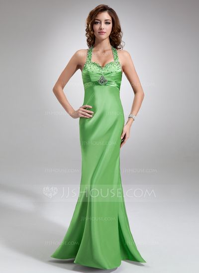 Prom Dresses - $127.99 - Empire Halter Floor-Length Charmeuse Prom Dress With Ruffle Beading Sequins (018004842) http://jjshouse.com/Empire-Halter-Floor-Length-Charmeuse-Prom-Dress-With-Ruffle-Beading-Sequins-018004842-g4842