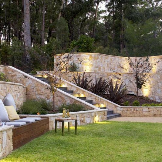 Upper North Shore Landscape Design Backyard Garden Design Sydney Nsw In 2020 Sloped Backyard Luxury Landscaping Backyard Garden Design