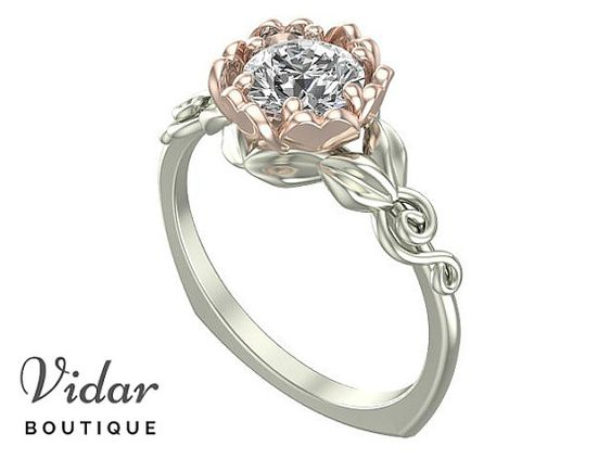 Flower Engagement Ring, Unique Engagement Ring, Two Tone Gold Ring By Vidar Botique, Rose Gold Engagement Ring, Leaves Ring, Vintage Ring, Unique Diamond Engagement Ring, Unique Two Tone Gold Engagement Ring
