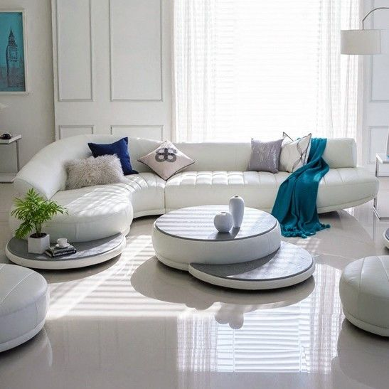 Modern Leather Sofa Set, Living Room Furniture, White, Red, Blue ...