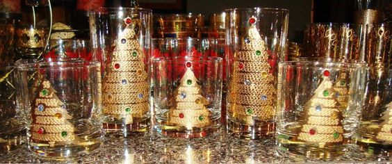 Culver jeweled Christmas tree glasses. These are from the 50s-60s and are in mint condition.