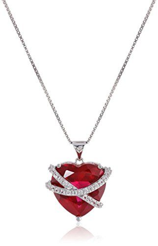 "Fashion Bug Sterling Silver Created Ruby and Created White Sapphire Wrapped Heart Pendant Necklace, 18"" www.fashionbug.us"