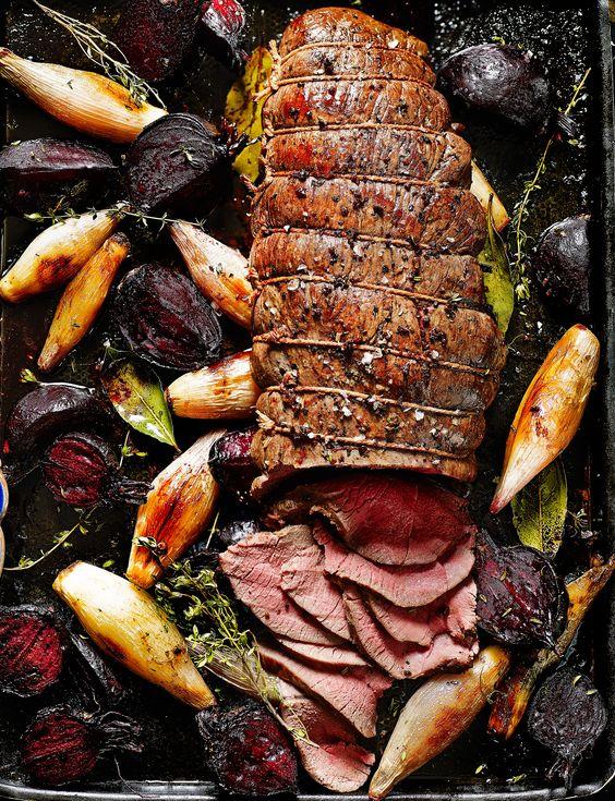 Dreamy roast venison haunch with beetroot, shallots and horseradish..... YUM.