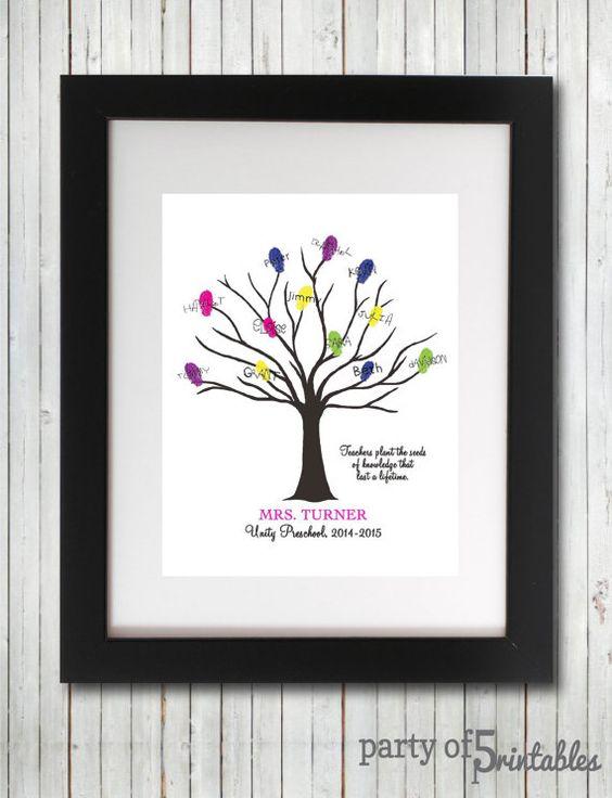Teachers Gift Fingerprint Tree Plant Seeds Quote Teacher ...