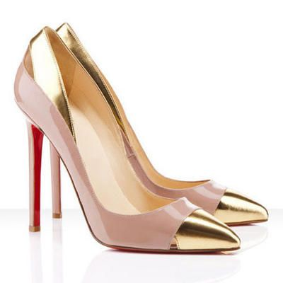 stiletto nude gold patent leather pumps #tpd #Revloninspires courtesy of @Emer Mua