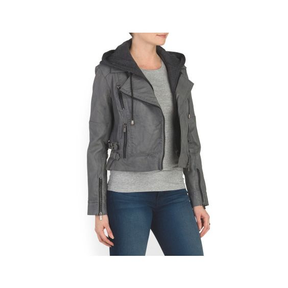 Leather Biker Jacket With Hoodie ($180) ❤ liked on Polyvore featuring outerwear, jackets, leather moto jacket, hooded moto jacket, hooded jacket, genuine leather jackets and rider jacket